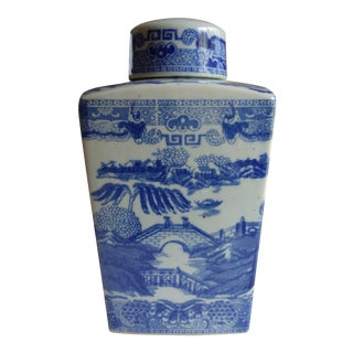 Vintage Blue & White Ringtons Tea Caddy For Sale