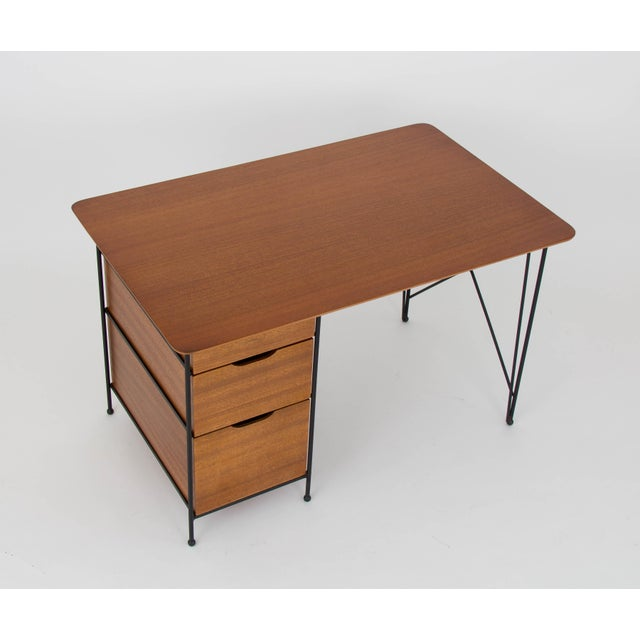 Modernist Desk in Mahogany and Enameled Steel by Vista of California - Image 7 of 9