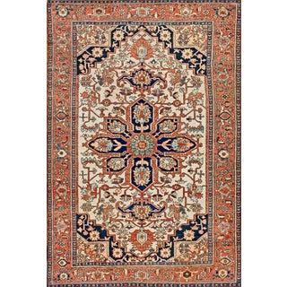 Early 20th Century Antique Serapi Rug - 8′10″ × 12′9″ For Sale