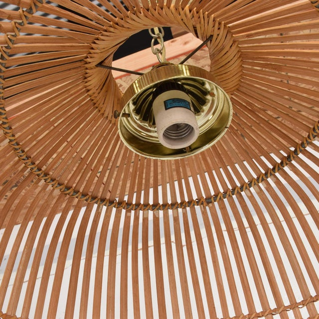 Gold Mid-Century Modern Rattan Pendant Hanging Lamp For Sale - Image 8 of 9