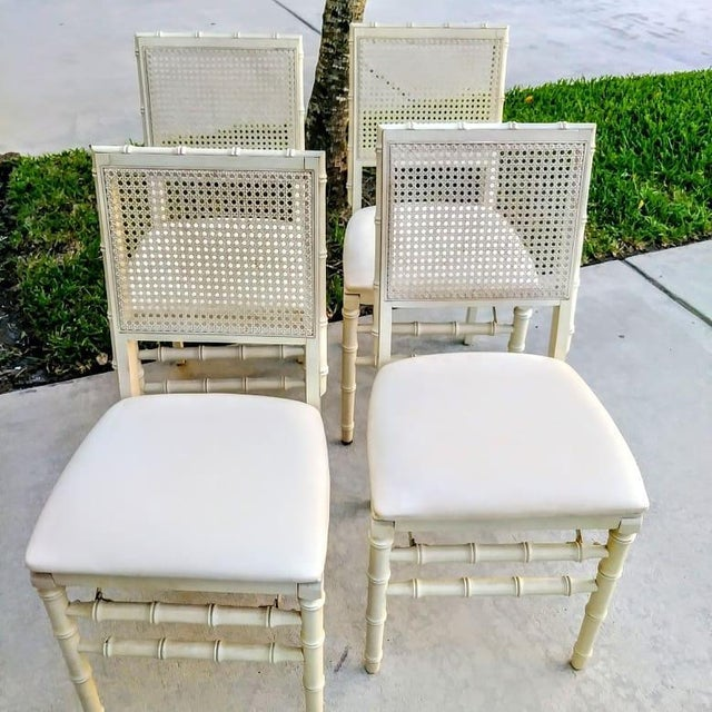Hollywood Regency Set of Vintage Stakmore Palm Beach Regency Faux Bamboo Cane Off White Folding Chairs Set of 4 For Sale - Image 3 of 7