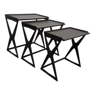 Ico Parisi Attribute Black Lacquered Nesting Tables
