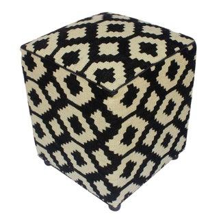 Arshs Dolores Black/Ivory Kilim Upholstered Handmade Ottoman For Sale