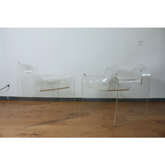 Vintage Pair of Lucite Ribbon Style Lounge Chairs For Sale - Image 10 of 13