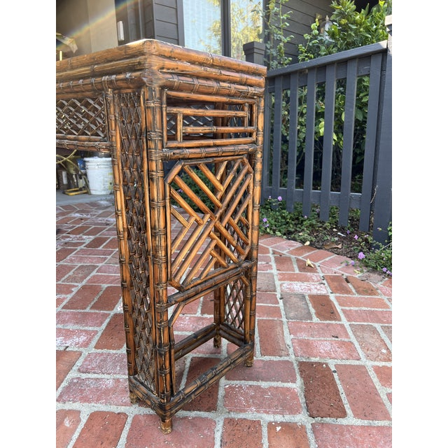 Chinoiserie Antique Bamboo Chinoiserie Console For Sale - Image 3 of 12