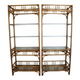 Image of McGuire Style Rattan Etageres - A Pair For Sale