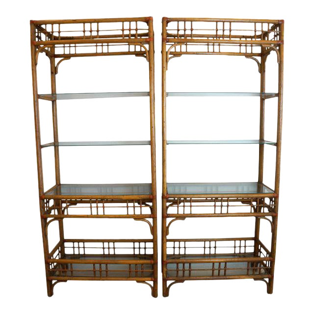 McGuire Style Rattan Etageres - A Pair For Sale
