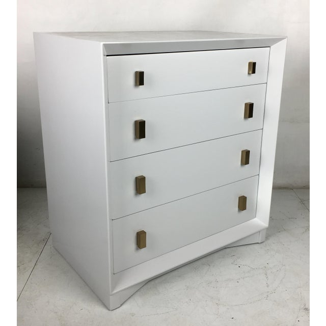 Handsome pale grey commode/chest of drawers by Plymouth Furniture for John Stuart NY. The chest has been meticulously...