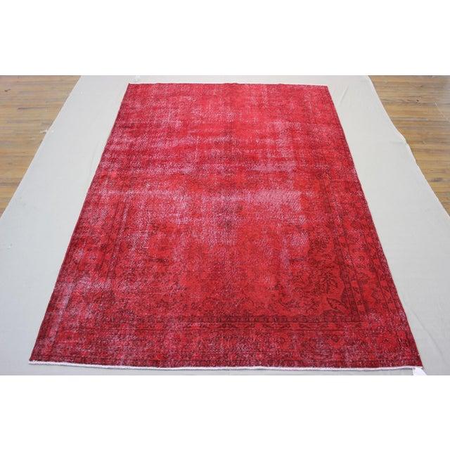 "Vintage Turkish Red Overdyed Rug - 7'2"" X 11' - Image 5 of 6"