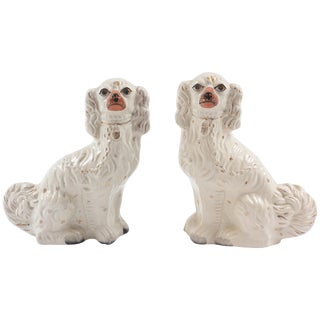 Pair of Staffordshire Dogs, 19th Century With Charming Expressions For Sale