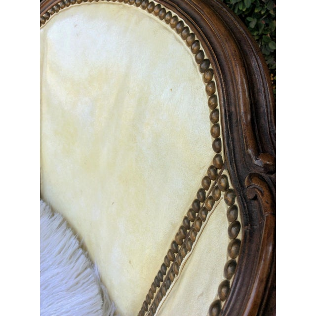 Vintage Leather & Faux Fur Club Chair For Sale In Los Angeles - Image 6 of 10