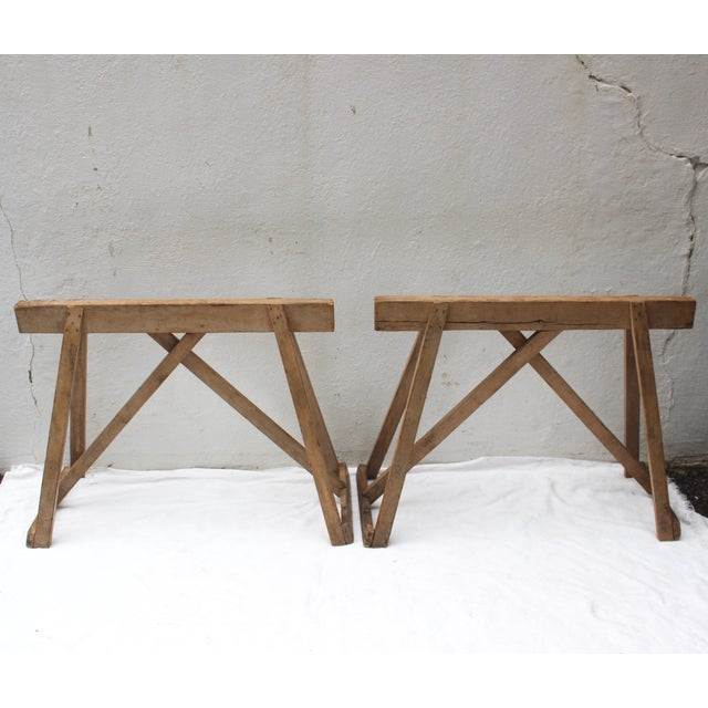 Late 19th Century 19th Century French Country Wood Saw Horse Table Bases - a Pair For Sale - Image 5 of 13