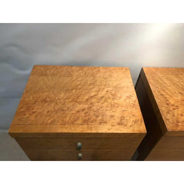 1950s Mid Century Tiger Maple Night Stands - a Pair For Sale - Image 5 of 10