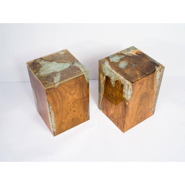 Pair of Organic Modern Bleached Teak Wood and Resin Side Tables For Sale - Image 9 of 13