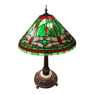 "1970's Vintage Artisan-Created ""Tiffany Dragonflies"" Stained Glass Table Lamp For Sale"