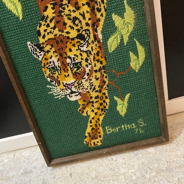 1970's Vintage Mid-Century Modern Cross Stitched Leopard Art For Sale In Las Vegas - Image 6 of 10