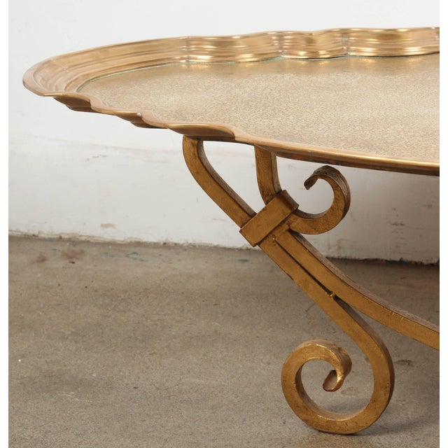 1970s Hollywood Regency Baker Brass Tray Table For Sale - Image 4 of 10