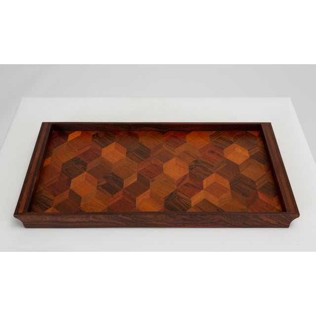 Senal Trompe L'oeil Rosewood Tray by Don Shoemaker for Señal For Sale - Image 4 of 10