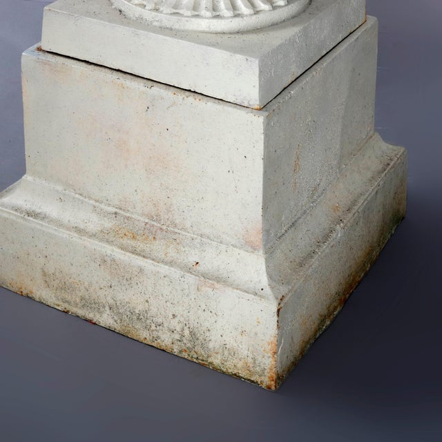 White Antique French Neoclassical 2-Piece Cast Iron Garden Urn, 20th Century For Sale - Image 8 of 10