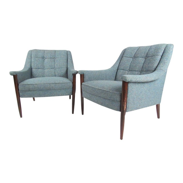 Pair Danish Modern Lounge Chairs For Sale