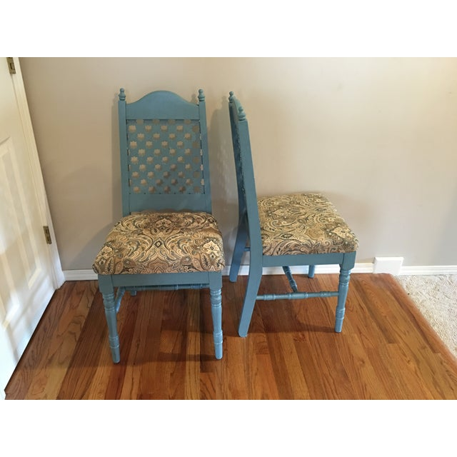 Vintage Blue Cottage Chairs - A Pair - Image 2 of 7
