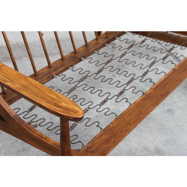 Walnut Danish Minimalist Spindle Back Sectional Sofa - Image 9 of 11