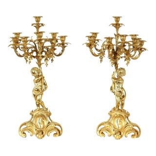 Eight Armed Gilt Bronze Candelabras - A Pair For Sale