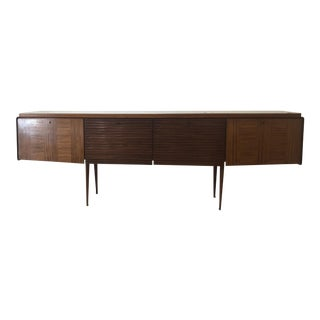 1960s Mid-Century Modern Credenza With Taupe Color Glass Top For Sale