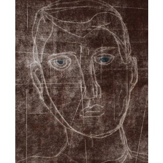 """Rob Delamater """"Self Portrait I"""" Monoprint and Gouache Painting in Brown, 2014 2014 For Sale"""
