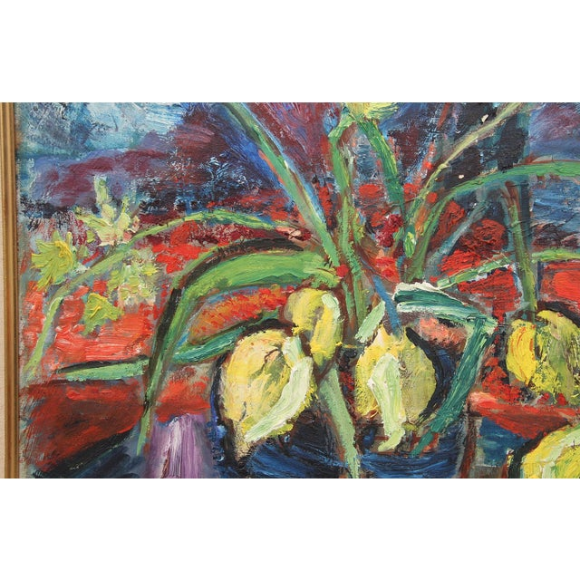 """Canvas 1960's Signed """"Tulip"""" Still Life Oil on Board Painting For Sale - Image 7 of 7"""