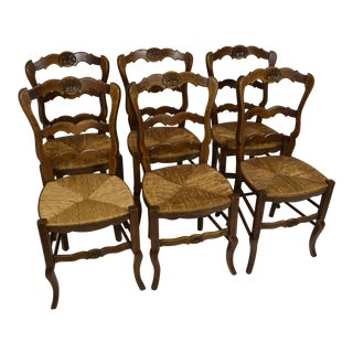 Vintage Early 20th-Century Country French Chairs - Set of 6 For Sale