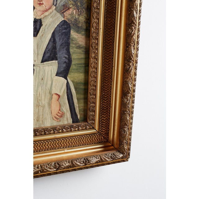 19th Century Folk Art Painting of a Young Girl For Sale In San Francisco - Image 6 of 13