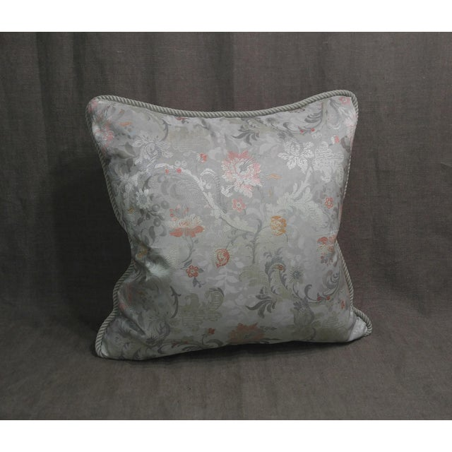 Vintage Silk Floral Damask Fragment Throw Pillow For Sale In Los Angeles - Image 6 of 6