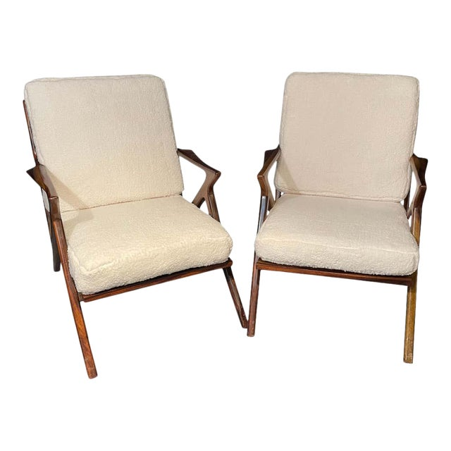 Mid-Century Modern Rosewood or Walnut Armchairs Sherpa, Upholstered - a Pair For Sale