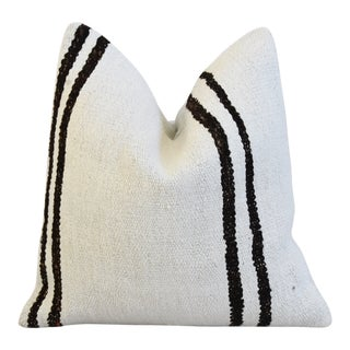 "Organic Hemp & Cotton Kilim Feather/Down Pillow 19"" Square For Sale"