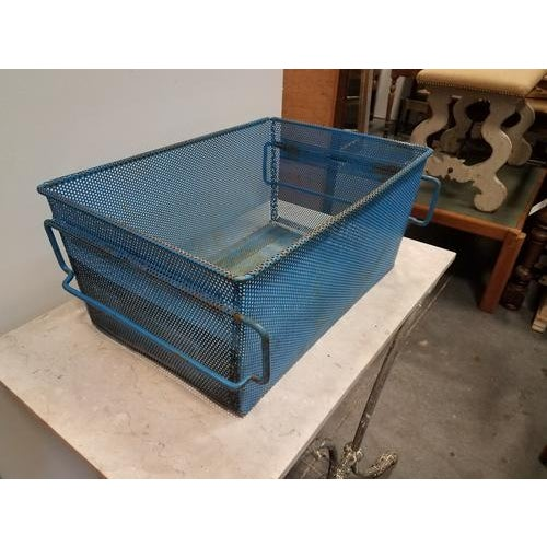 1960s 1960s French Industrial Blue Metal Basket For Sale - Image 5 of 8