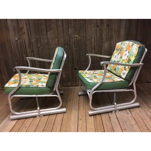 American Mid Century Modern Bunting Aluminum Glider Patio Chairs - A Pair For Sale - Image 3 of 11