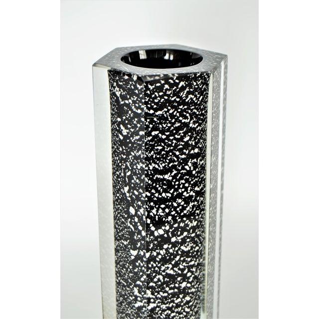 Mandruzzato Italian Murano Sommerso Black & Silver Glass Vase Mid-Century Modern MCM Venetian Venini Millennial - Image 4 of 11
