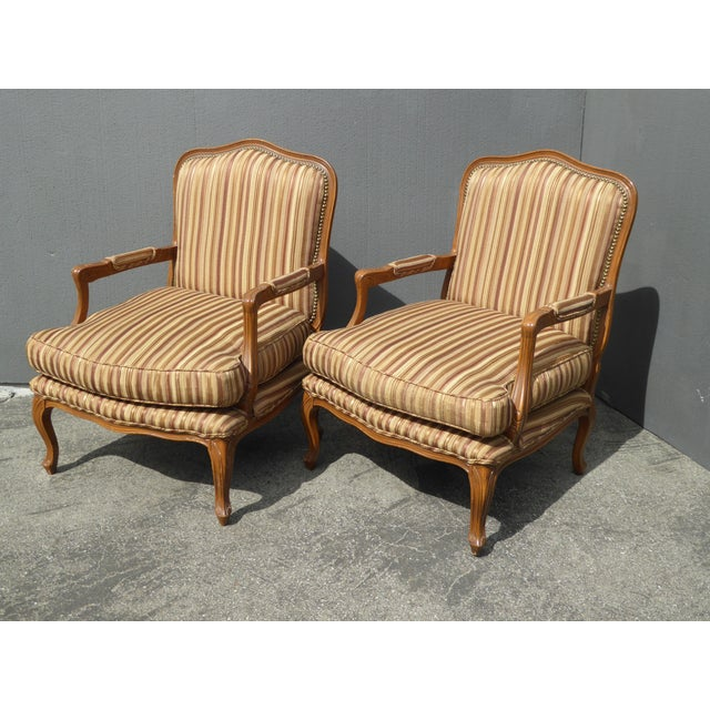 French Country Vintage French Country Brown Stripped Accent Chairs With Down Cushions - a Pair For Sale - Image 3 of 12
