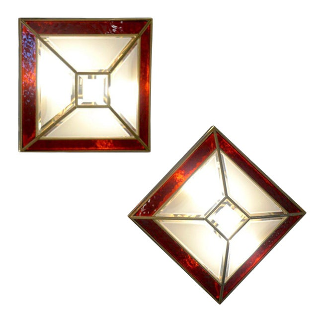 1950s Italian Art Deco Style Red White Frosted Glass Sconces/Flush Mounts - a Pair For Sale