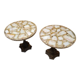 Hollywood Regency Arturo Pani Agate Quartz Resin Side Tables - A Pair