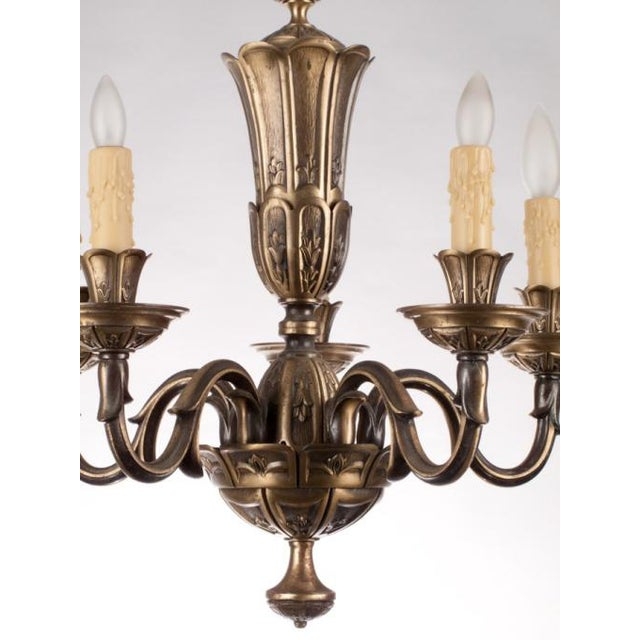 French Gilded Bronze Chandelier circa 1920's - Image 3 of 9