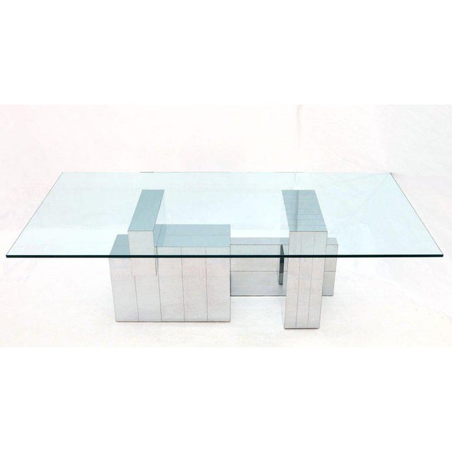 Paul Evans for Directional Large Chrome Glass Top Dining Conference Table For Sale - Image 13 of 13
