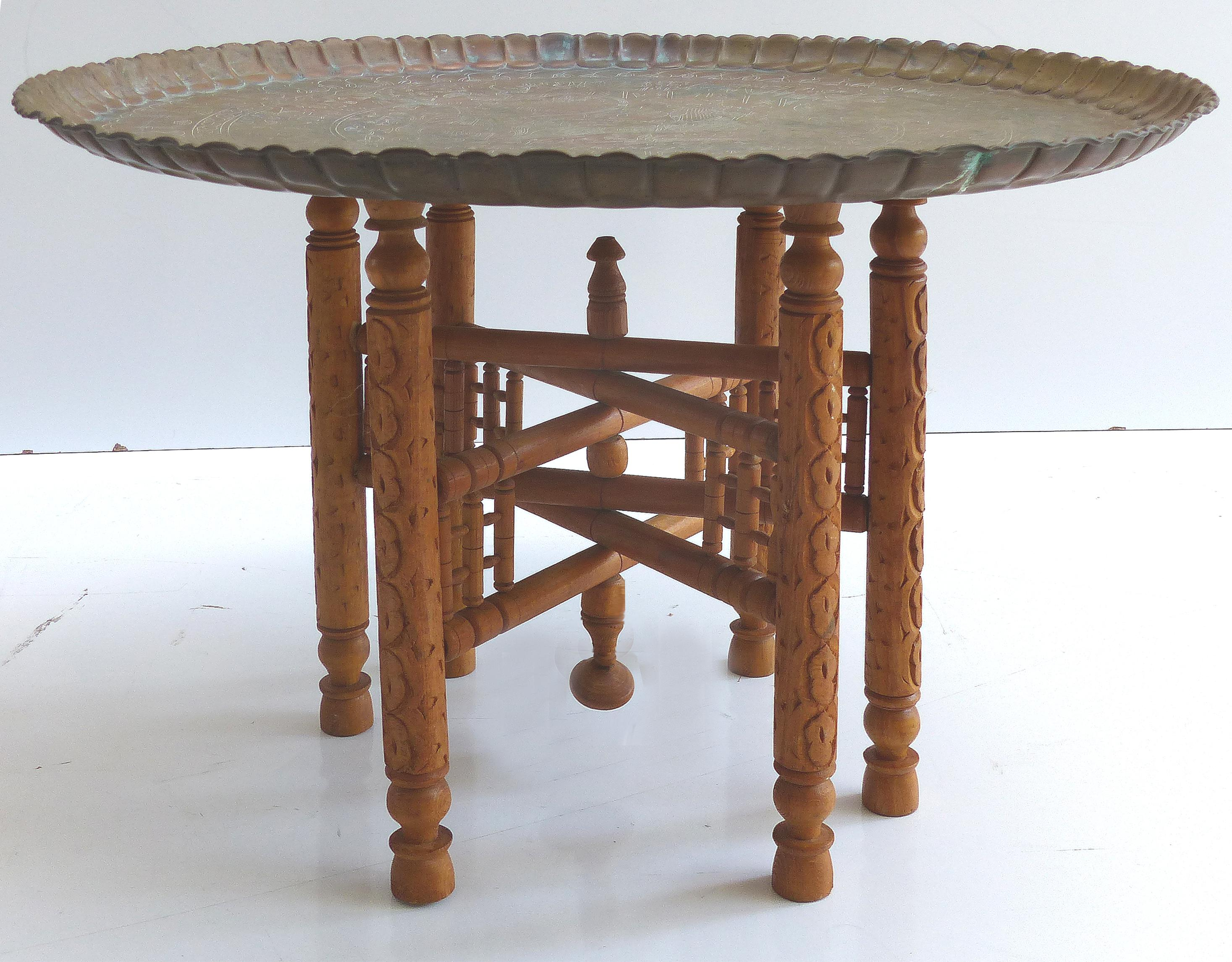 Superbe Vintage Moroccan Brass Tray Table On Stand   Image 10 Of 10