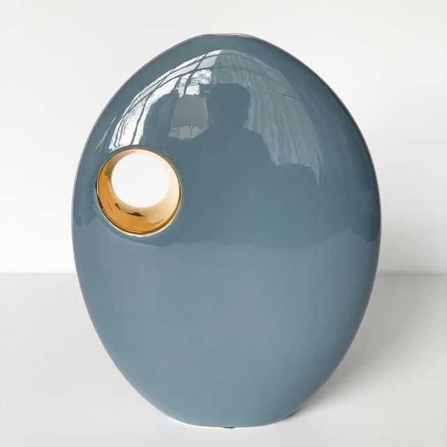 Jaru Blue and Gold Sculptural Ceramic Vase For Sale In Chicago - Image 6 of 13