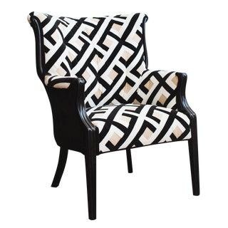 Refurbished Vintage Accent Chair, Camel Back Black
