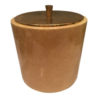 1970s Mid Century Modern Gold Goat Skin Ice Bucket For Sale