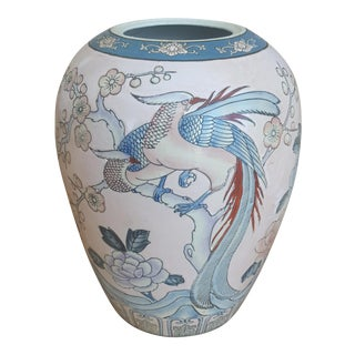 Vintage Chinoiserie Birds of Paradise Handpainted Ceramic Vase