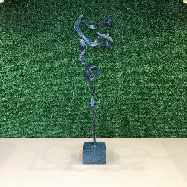 Mid-Century Modern Freeform Verdigris Bronze Sculpture For Sale - Image 3 of 9