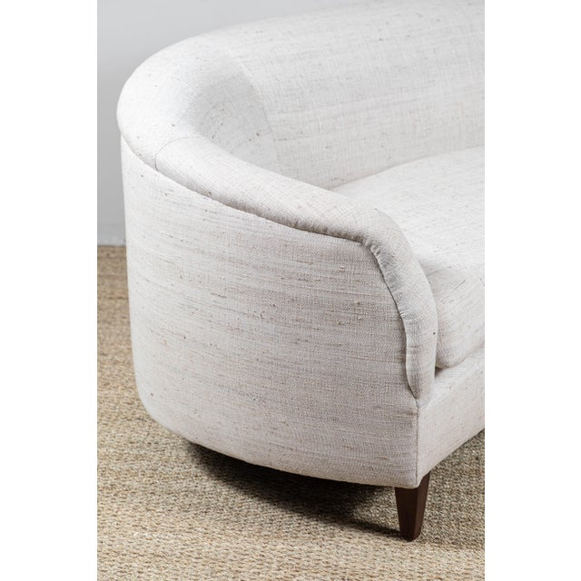 White Vintage Curved Sofa With Pat McGann Studio Upholstery Fabric For Sale - Image 8 of 11